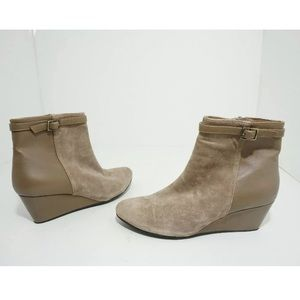 Cordani Taupe Suede Leather Wedge Heel Ankle Boots